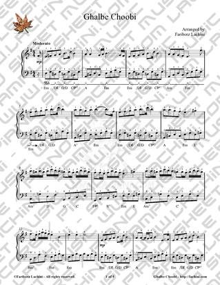 Ghalbe Choobi Sheet Music