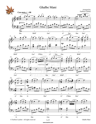 Ghalbe Mani Sheet Music