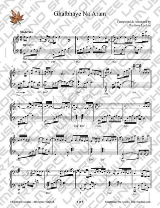 Ghalbhaye Na Aram Sheet Music