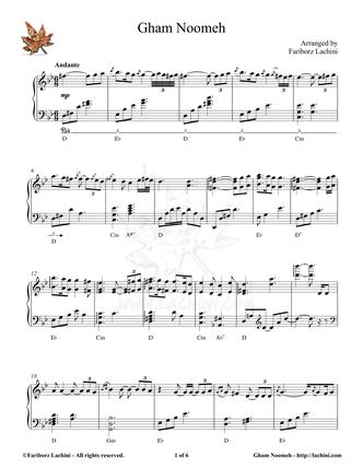 Gham Noomeh Sheet Music