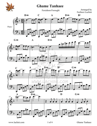 Ghame Tanhaee Sheet Music