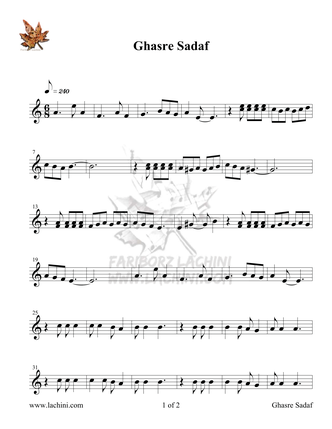 Ghasre Sadaf Sheet Music