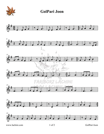 Gol Pari Joon Sheet Music