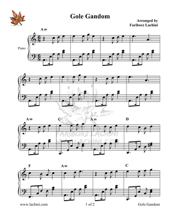 Gole Gandom 2 Sheet Music