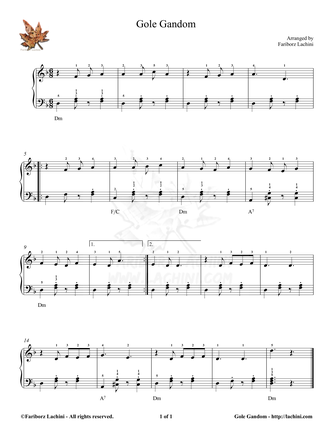 Gole Gandom 3 Sheet Music