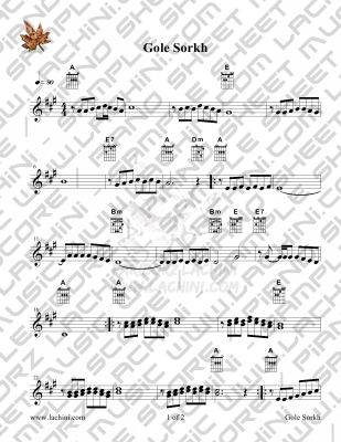 Gole Sorkh Sheet Music
