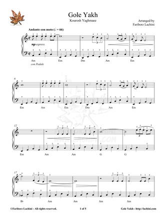Gole Yakh Sheet Music