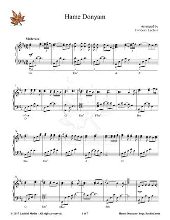 Hame Donyam Sheet Music
