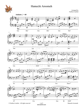 Hamechi Aroomeh Musiknoten