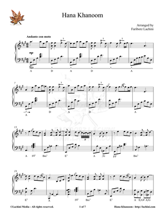 Hana Khanoom Sheet Music