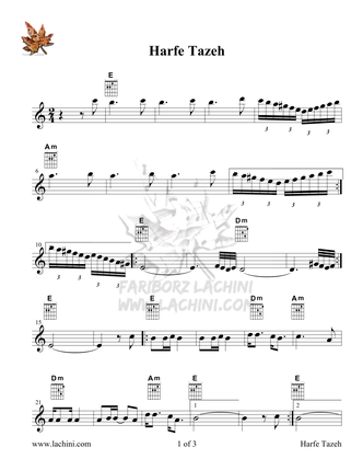 Harfe Tazeh Sheet Music