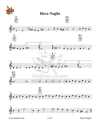 Hava Nagila Sheet Music