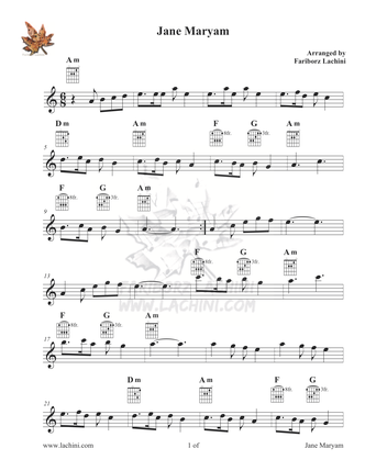 Jane Maryam Sheet Music