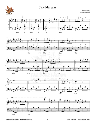Jane Maryam 3 Sheet Music