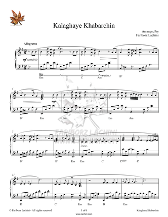 Kalaghaye Khabarchin Sheet Music