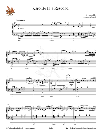 Karo Be Inja Resoondi Sheet Music