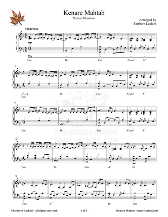 Kenare Mahtab Sheet Music