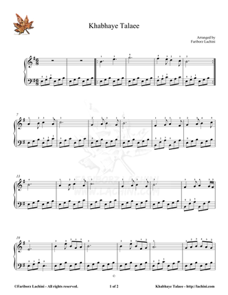 Khabhaye Talaee 3 Sheet Music