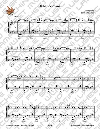 Khanoomam Sheet Music