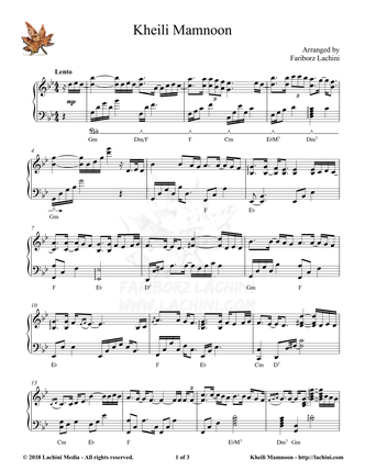 Kheili Mamnoon Sheet Music