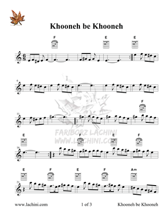 Khooneh be Khooneh Sheet Music