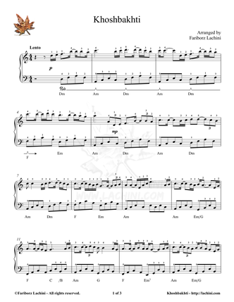 Khoshbakhti Musiknoten