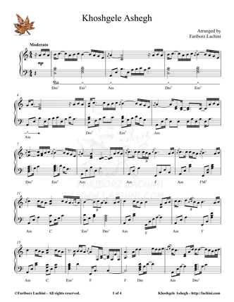 Khoshgele Ashegh Sheet Music