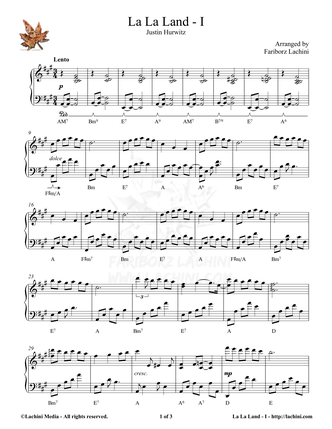 La La Land - I Sheet Music