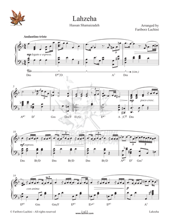 Lahzeha Sheet Music