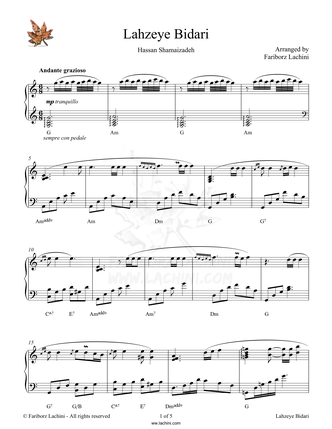 Lahzeye Bidari Sheet Music