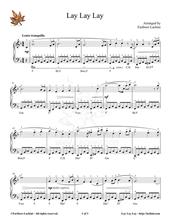 Lay Lay Lay Sheet Music