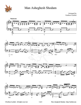 Man Asheghesh Shodam Sheet Music