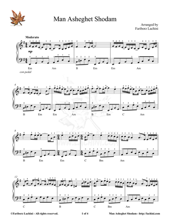 Man Asheghet Shodam Sheet Music