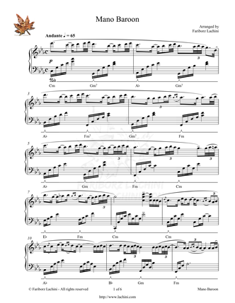 Mano Baroon Sheet Music