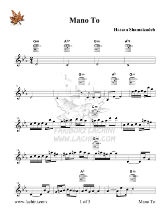 Mano To Sheet Music
