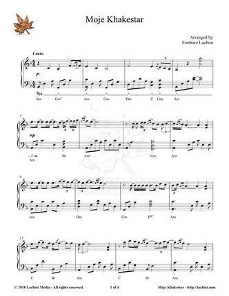 Moje Khakestar Sheet Music