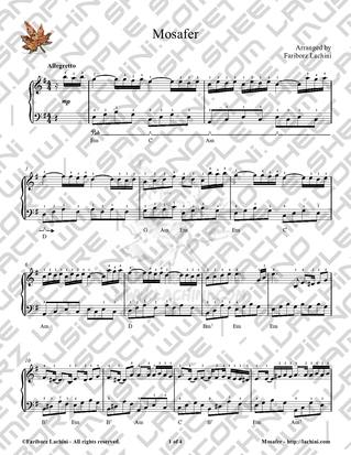Mosafer Sheet Music