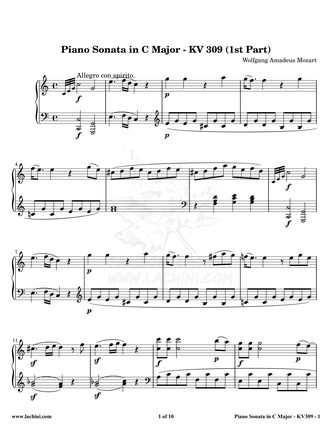 Piano Sonata in C Major - KV 309 Sheet Music