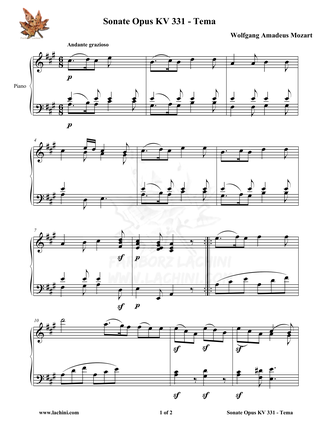 Sonate Opus KV 331 Tema Sheet Music
