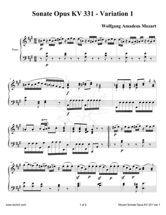 Sonate Opus KV 331 Variation 1 Sheet Music