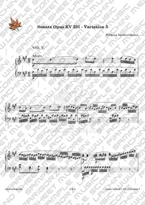 Sonate Opus KV 331 Variation 5 نت آهنگ