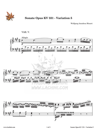 Sonate Opus KV 331 Variation 5 Sheet Music