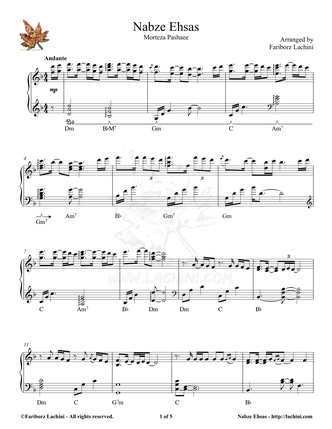 Nabze Ehsas Sheet Music