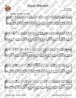 Negah Mikonam Sheet Music