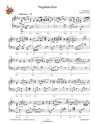 Negaham Kon Sheet Music