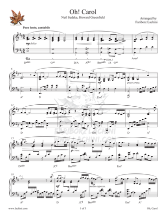 Oh Carol Sheet Music