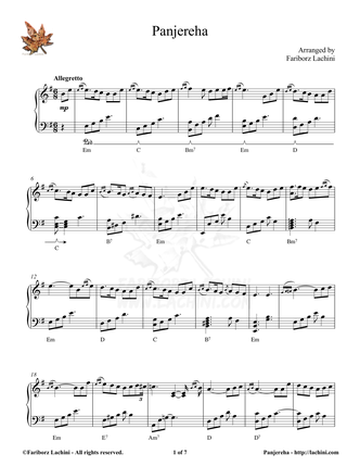 Panjereha Sheet Music