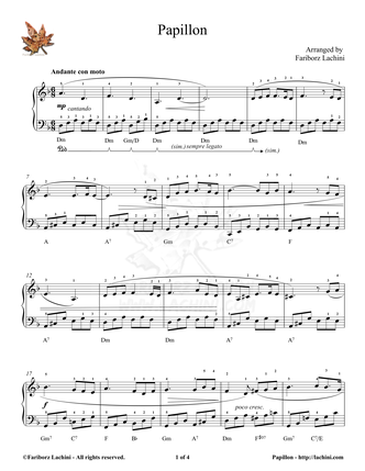 Papillon Sheet Music