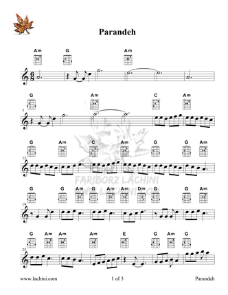 Parandeh Sheet Music