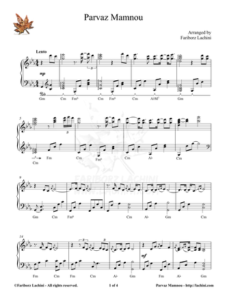 Parvaz Mamnou Sheet Music